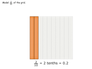 Introducing tenths on the 1x10 grid practice problems