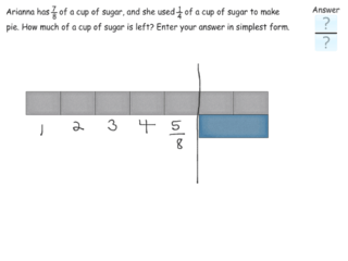 Subtracting fractions in context practice problems