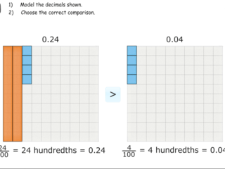 Relative size of hundredths practice problems