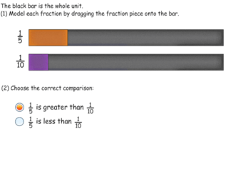 3.NF.3d practice problems ordering unit fractions
